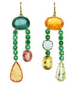emerald & fire opal earrings