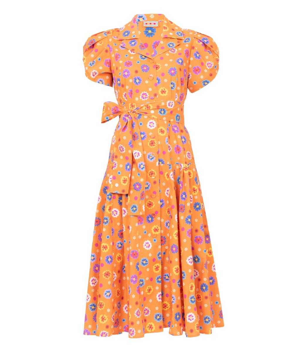 Lhd Orange Floral Glades Dress