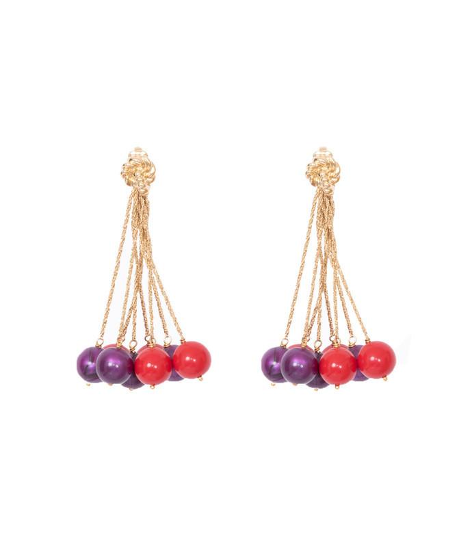 red & purple x aurelie bidermann palazzo earrings