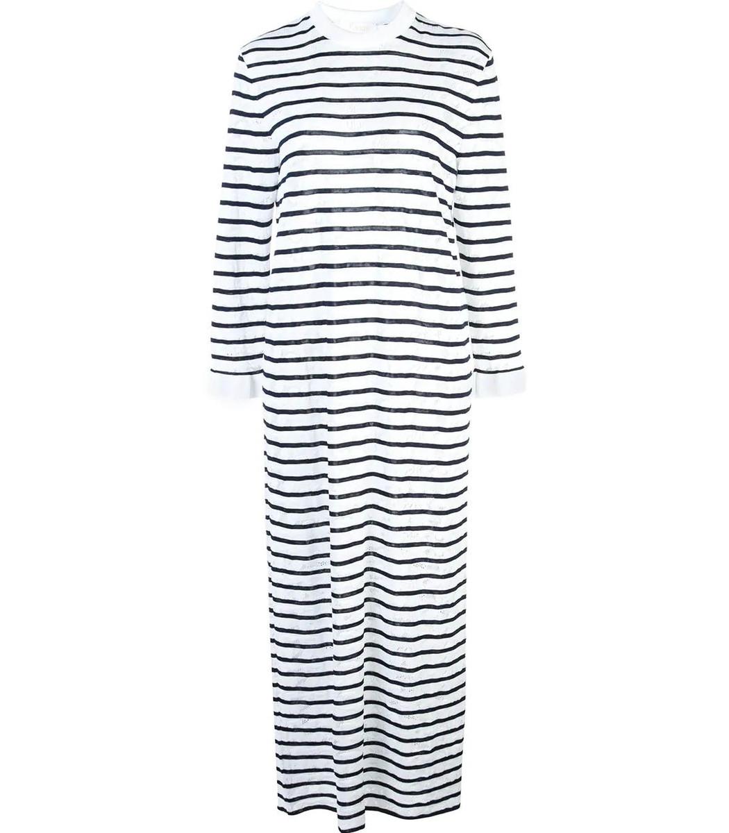 CHLOÉ Striped Jersey Midi Dress