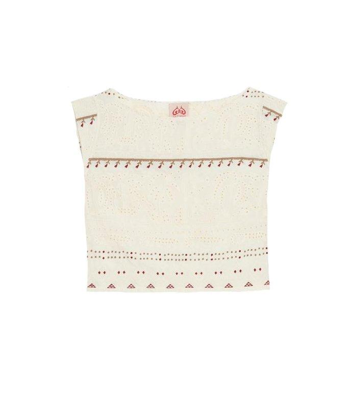 valentine embroidered cap sleeve crop top