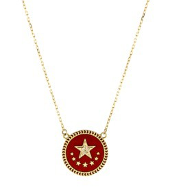 strength petite red enamel champleve stationary necklace