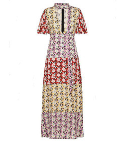 floral silk tieneck dress