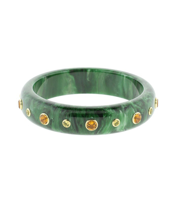 green and citrine bakelite bangle