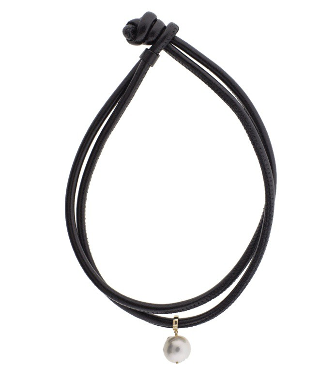 freshwater pearl clip on leather wrap