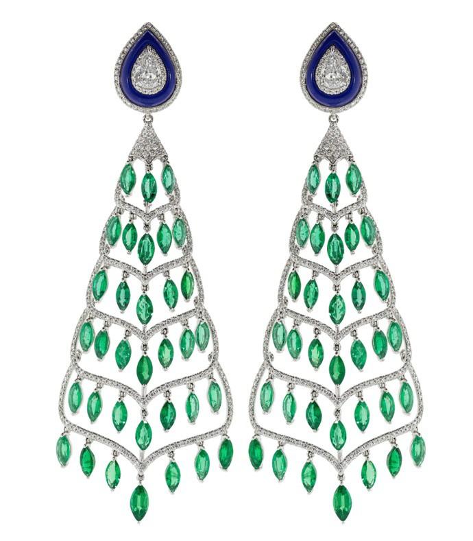 emerald lapis and diamond chandelier earrings