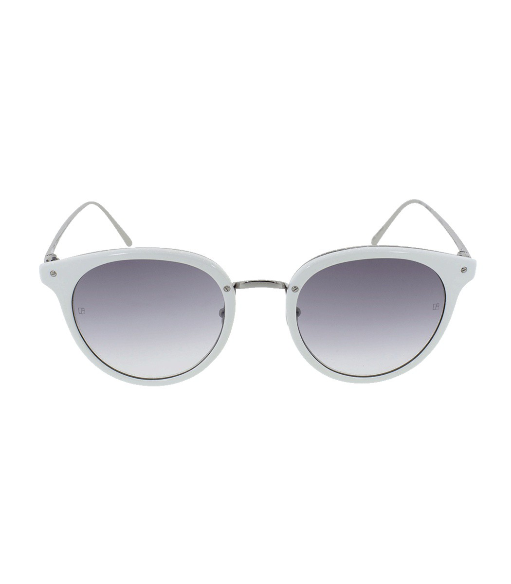 Linda Farrow Oval Sunglasses In White/Grey