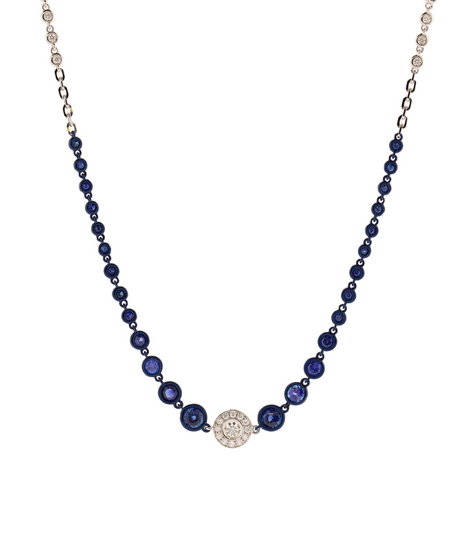 blue sapphire and diamond station necklace