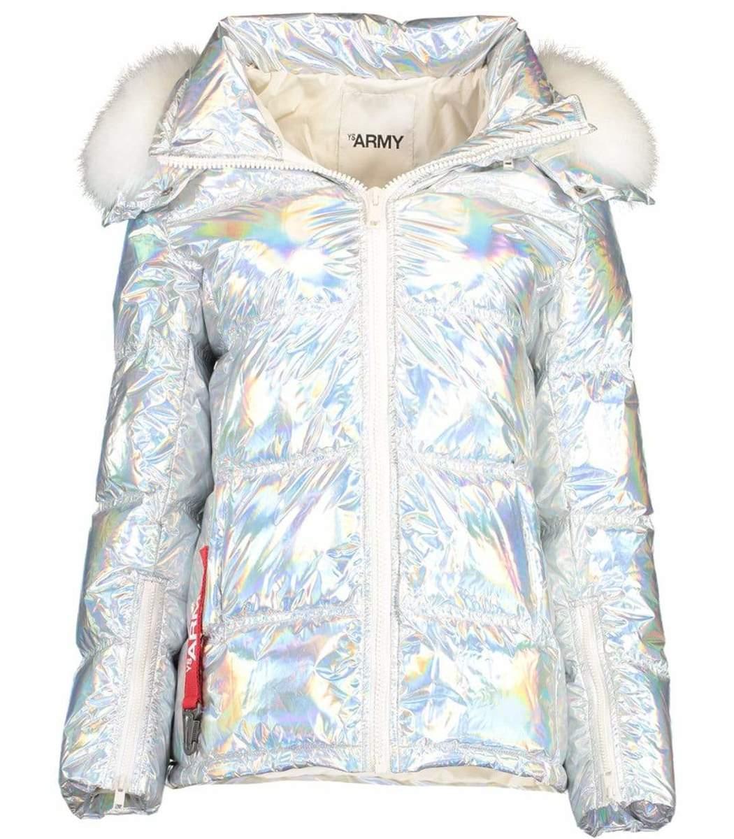 Yves Salomon Fur Trim Holographic Jacket