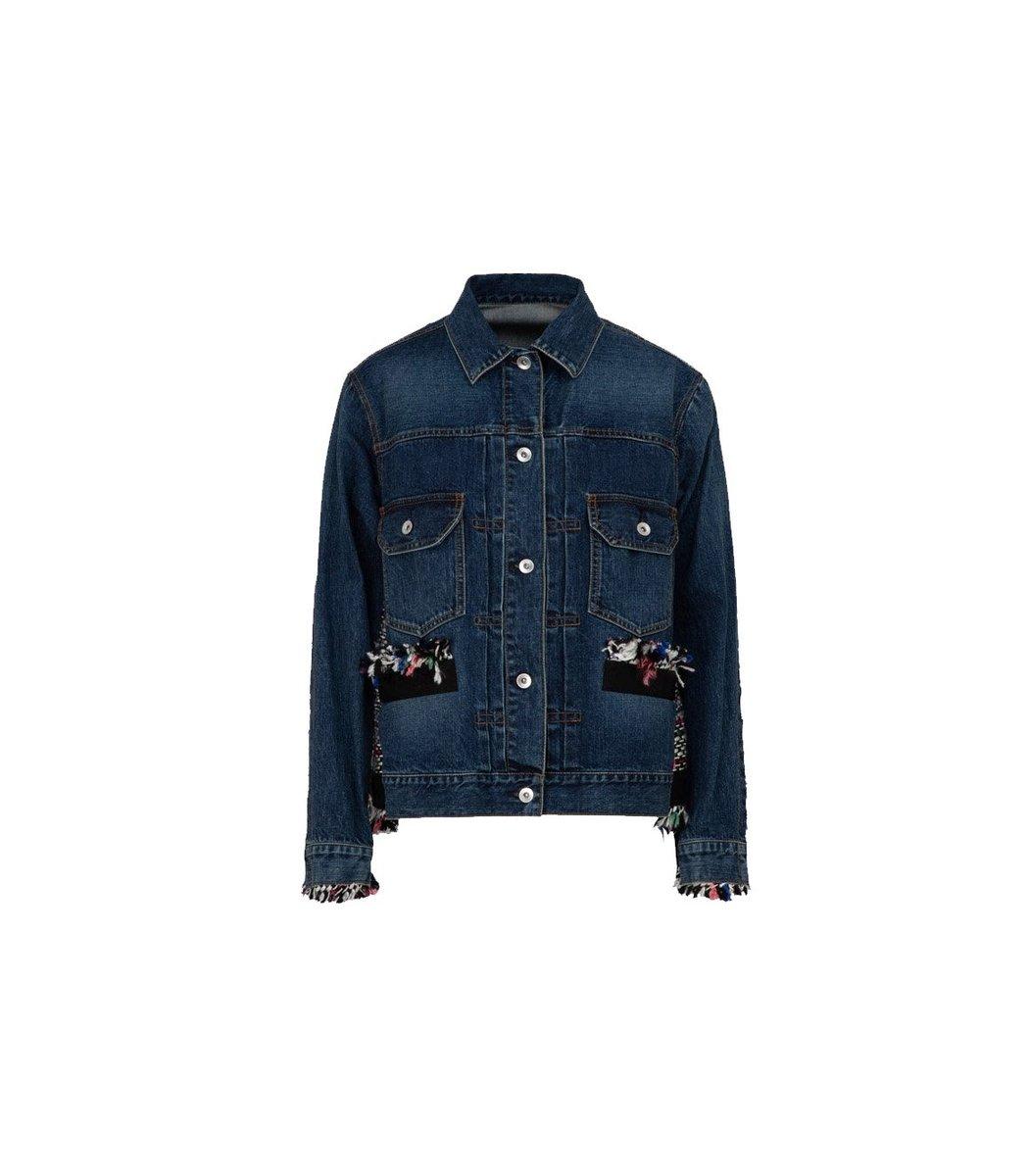 SACAI Tweed Denim Oversized Jacket