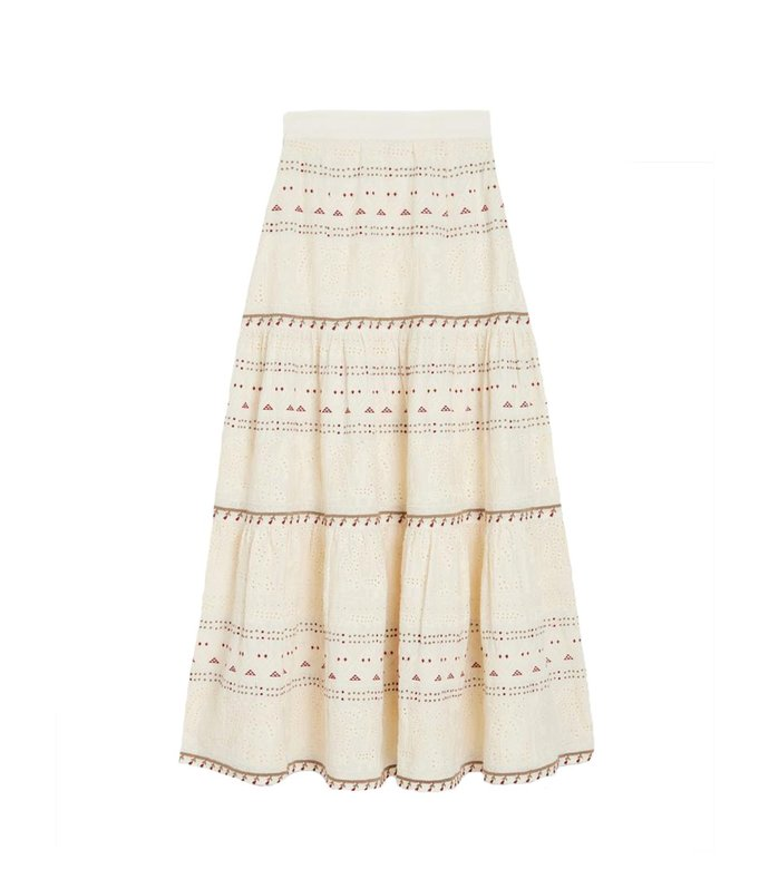 lada embroidered midi a-line skirt