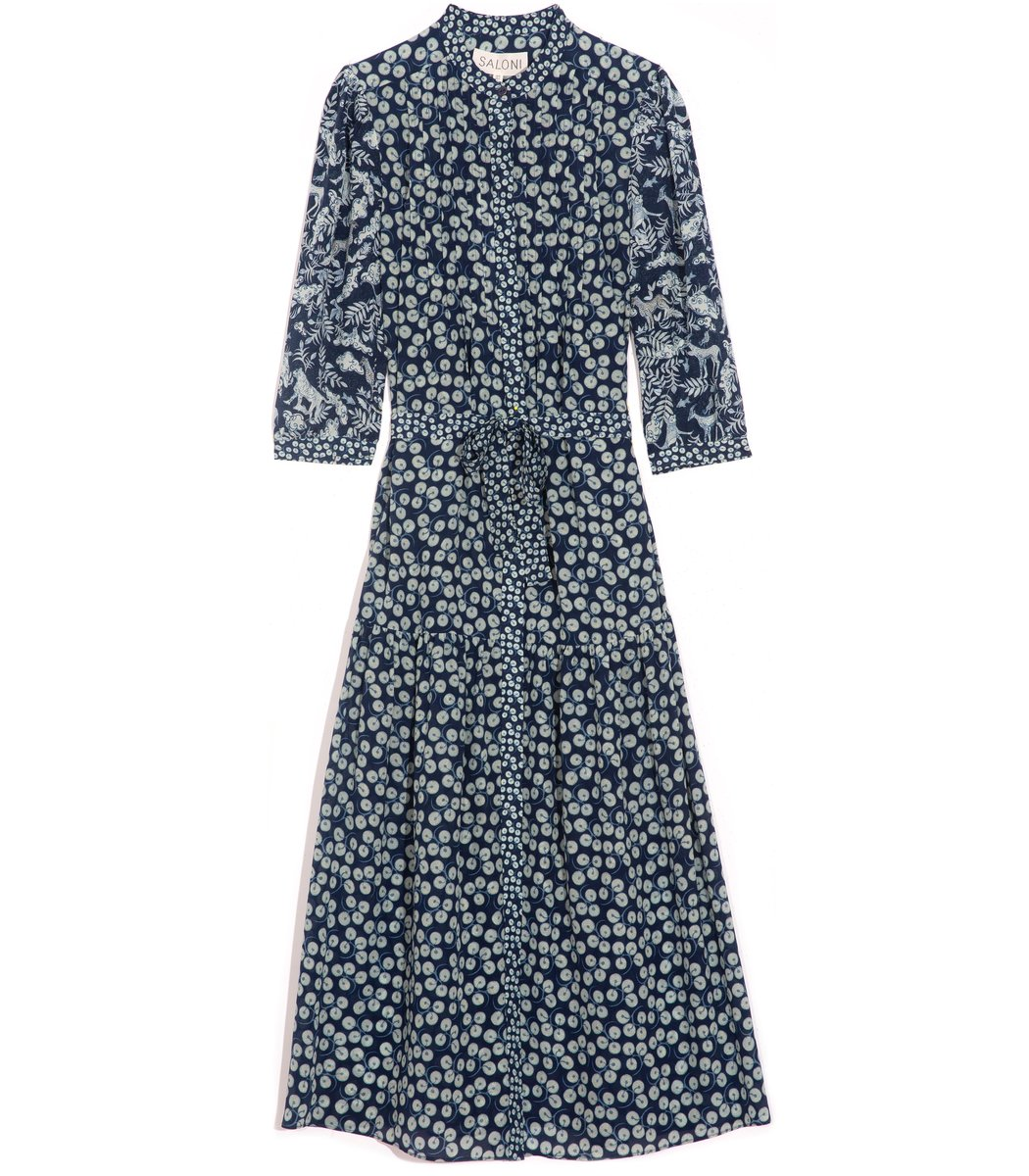 Saloni Remi-C Dress in Navy Aspen