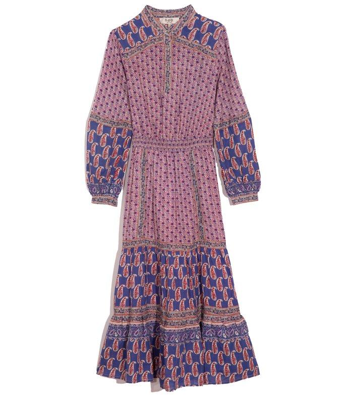 bianca long sleeve dress in violet