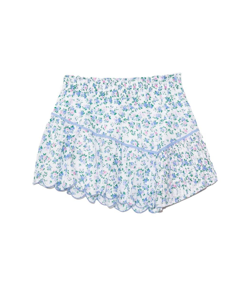Loveshackfancy Memphis Skirt in Blue Jay Song