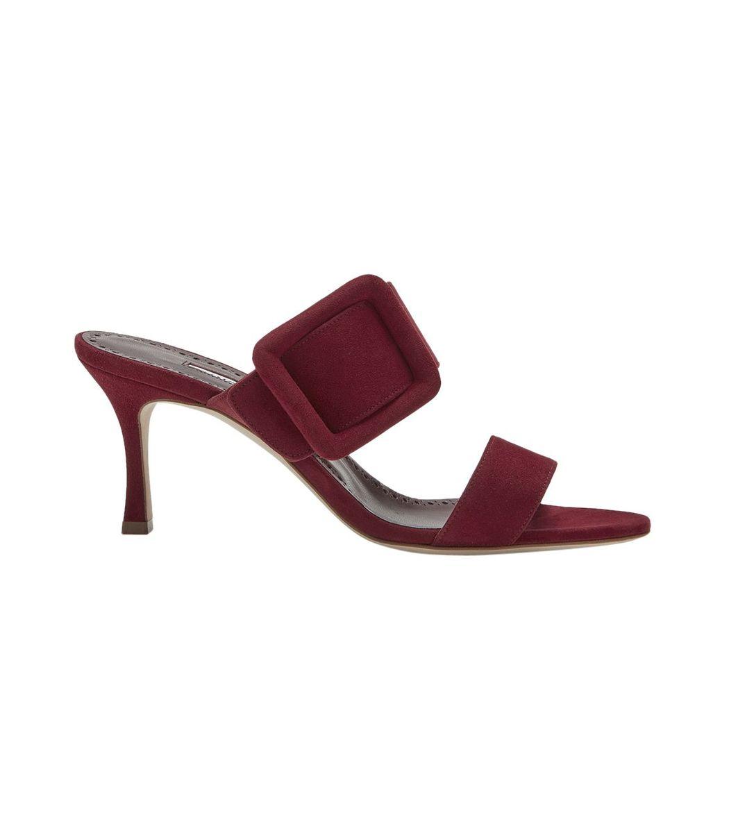 Manolo Blahnik Dark Red Gable Sandals