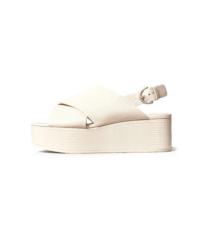 criss cross platform sandal in sand croco
