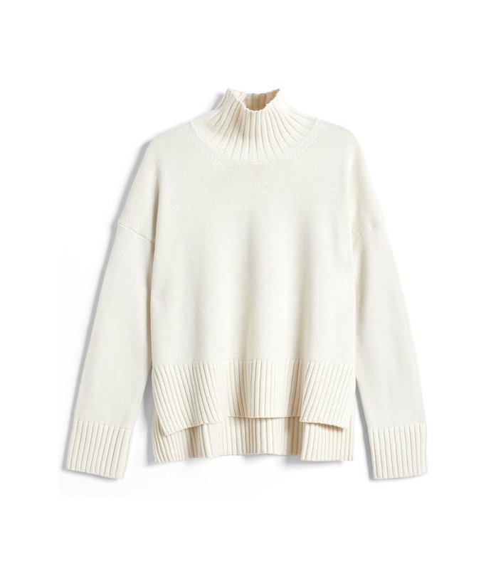 slim sleeve boxy sweater in ivory