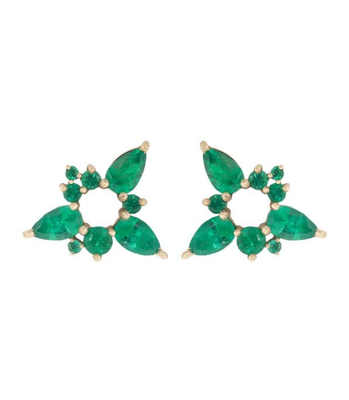 emerald electric spark stud earrings