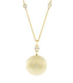 round locket with center star diamond