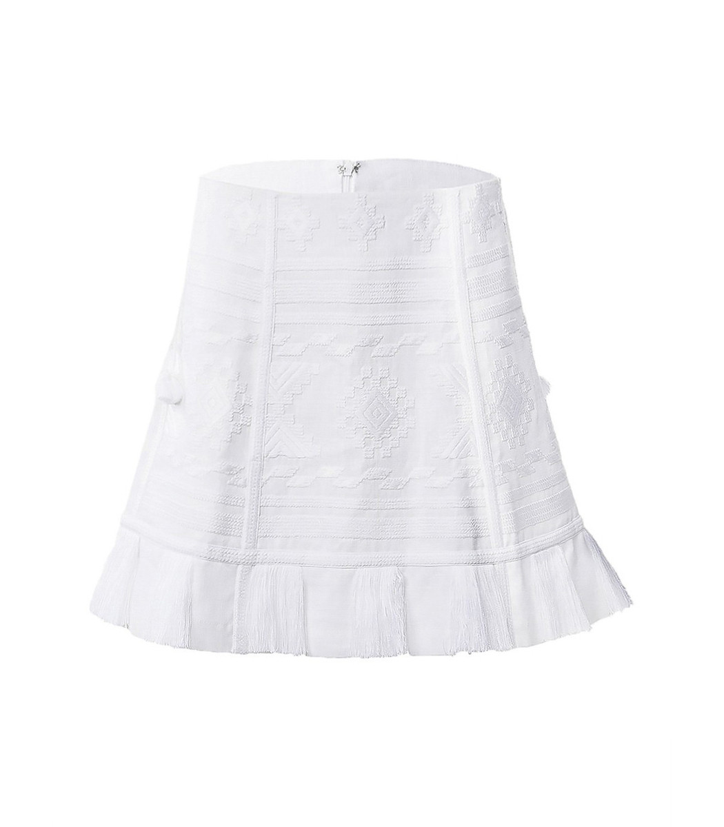 White Denim Floral Embroidered Button Front Skirt - River
