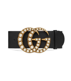 wide leather belt with pearl double g