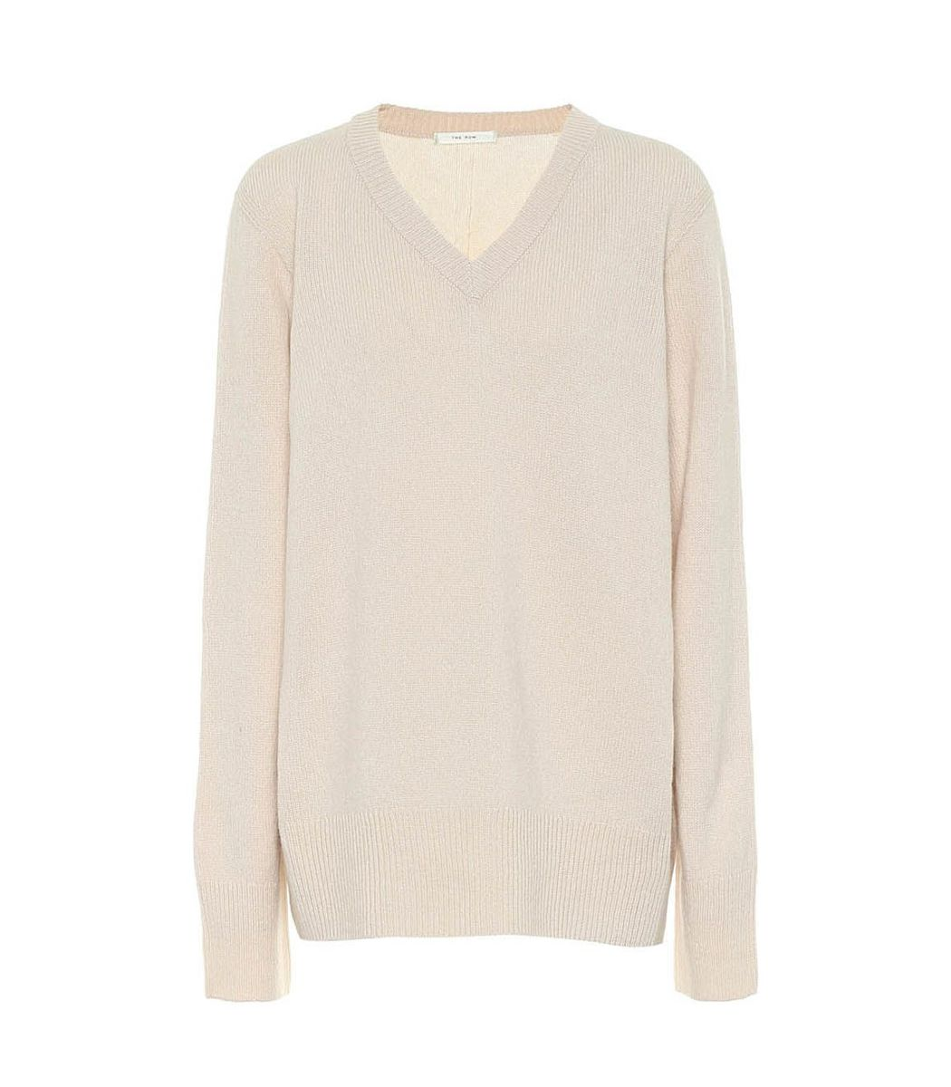 The Row Beige Elaine Cashmere-wool Sweater