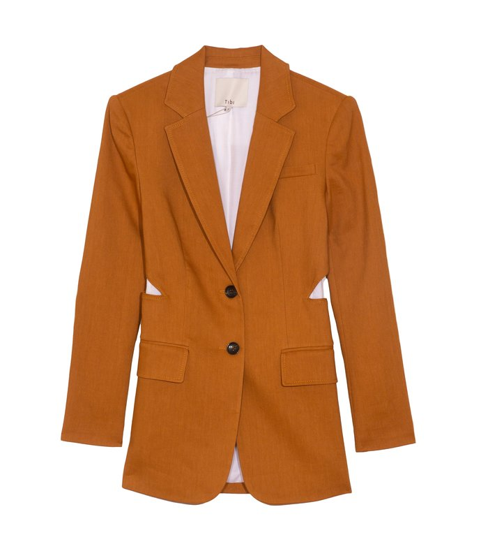 linen cutout blazer in cinnamon