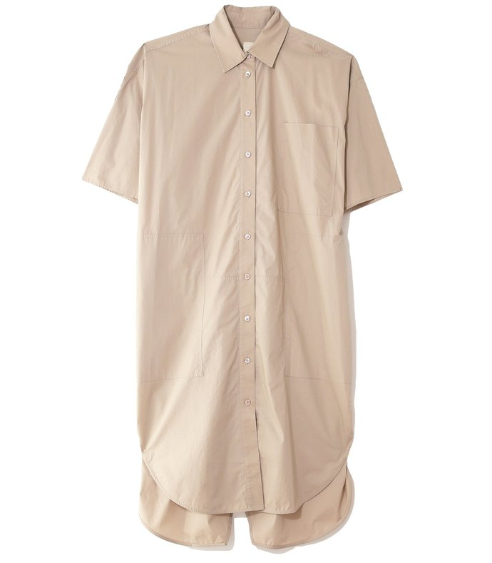 poplin short sleeve shirt dress in sand
