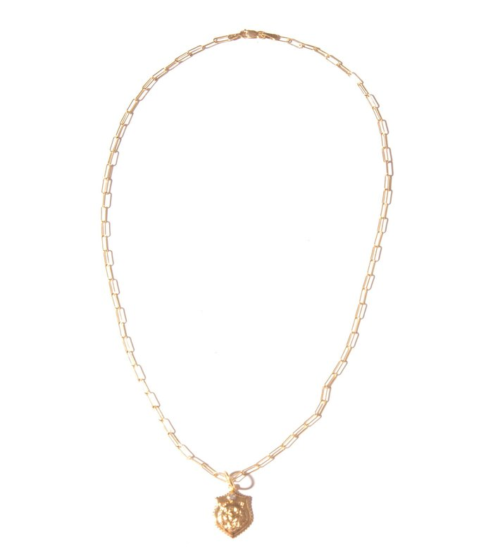 lion on paperclip chain in 14k gold