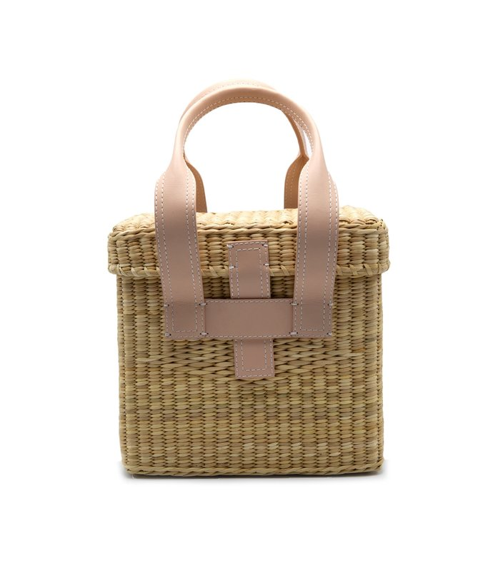 mini straw picnic tote with leather trim in natural