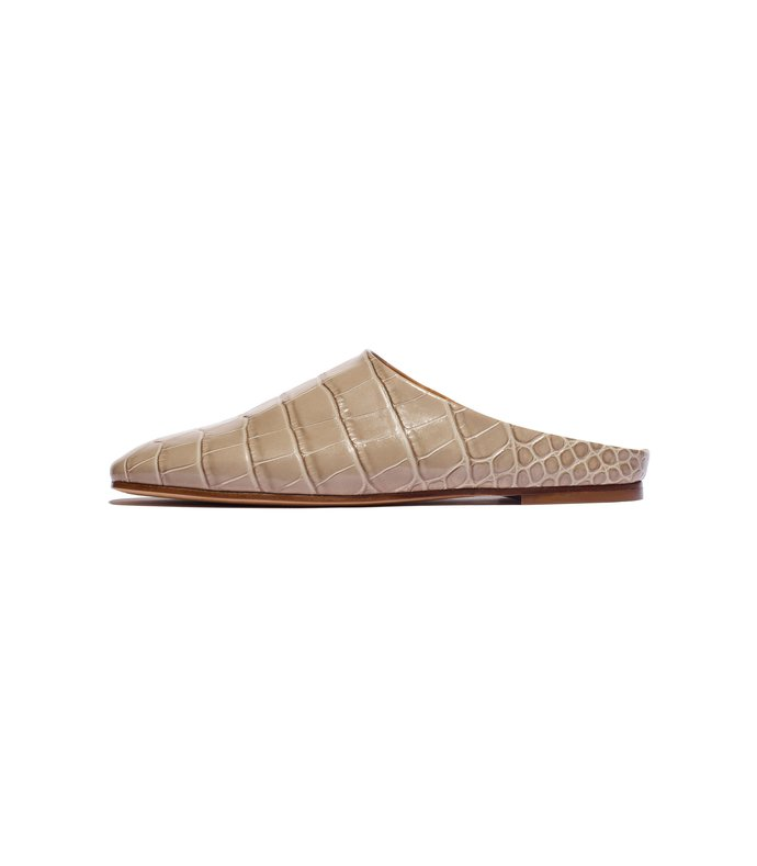 glider mule in cement embossed croc