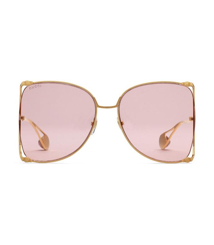 oversize round-frame metal sunglasses