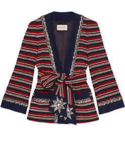 marine stripe bouclé jacket with belt