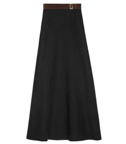 linen canvas belted long skirt