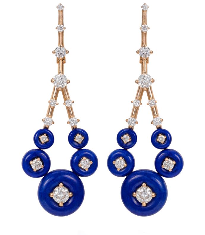 gravity small lapis diamonds earrings