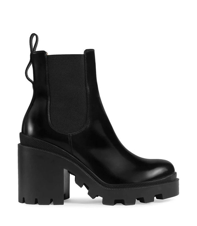 leather ankle boot with belt