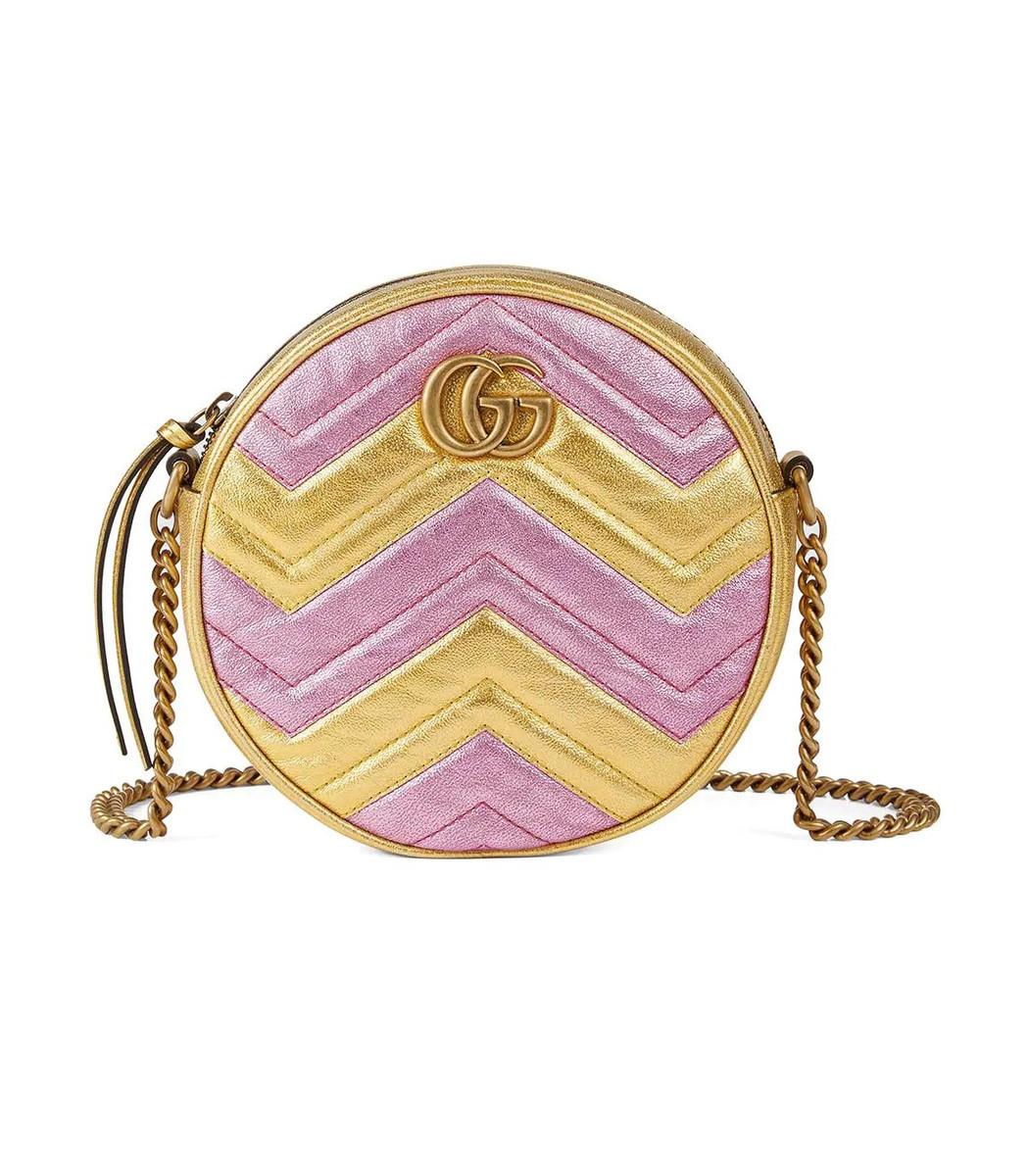 732214ecb4e5d8 Gucci Marmont 2.0 Mini Leather Circle Crossbody Bag - Metallic In Pink/Gold  Metallic Leather