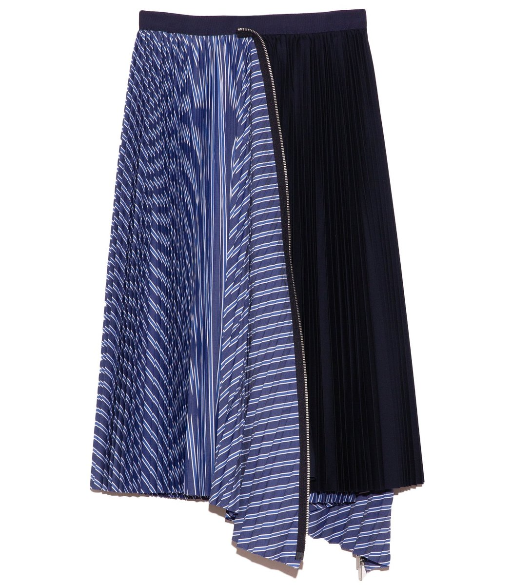 SACAI Cotton Poplin Zipper Skirt in Random Stripe