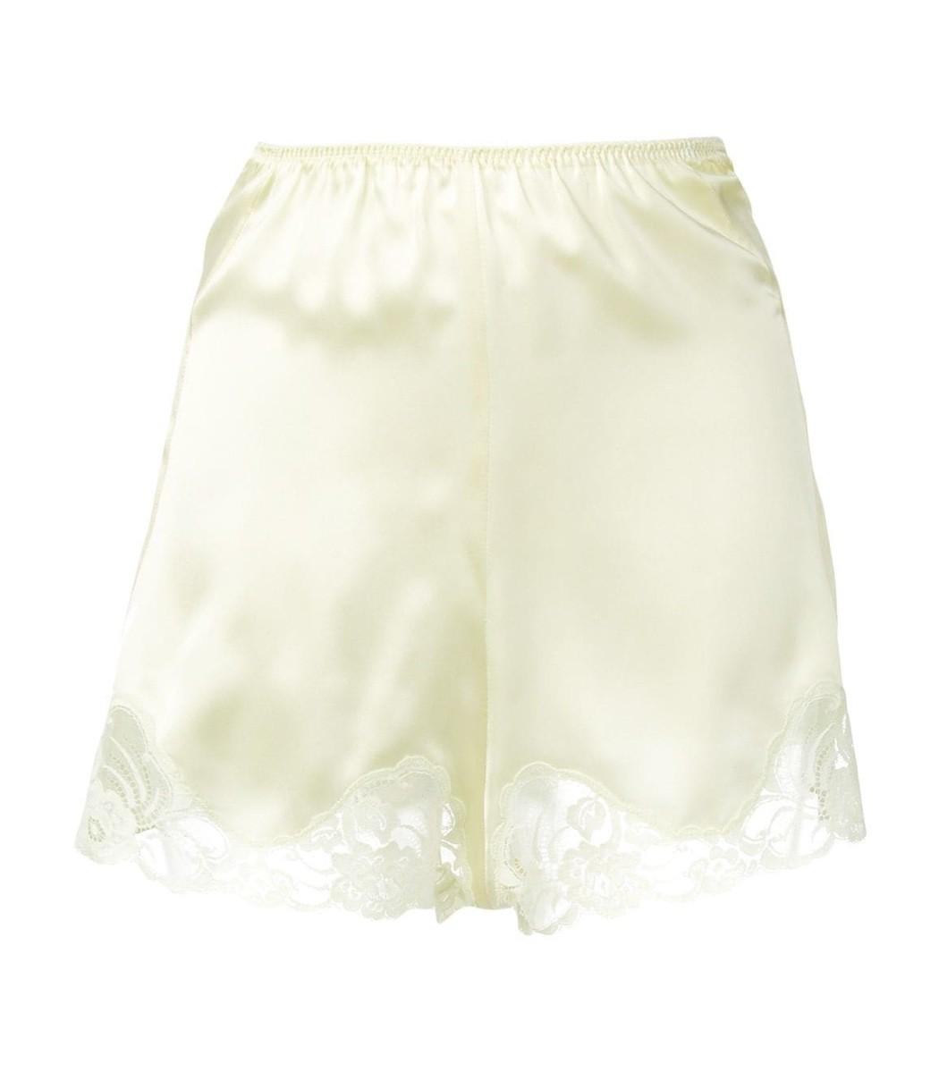 efdde64527508 STELLA MCCARTNEY Lace Trim Satin Shorts in Yellow