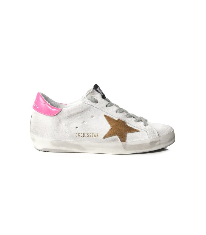 superstar sneakers in white leather/shocking pink
