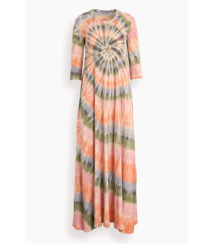 tie dye drama maxi dress in pastel spiral