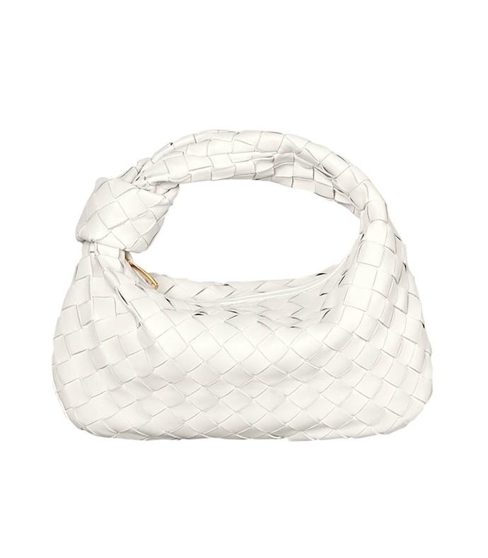 white intrecciato hobo bag