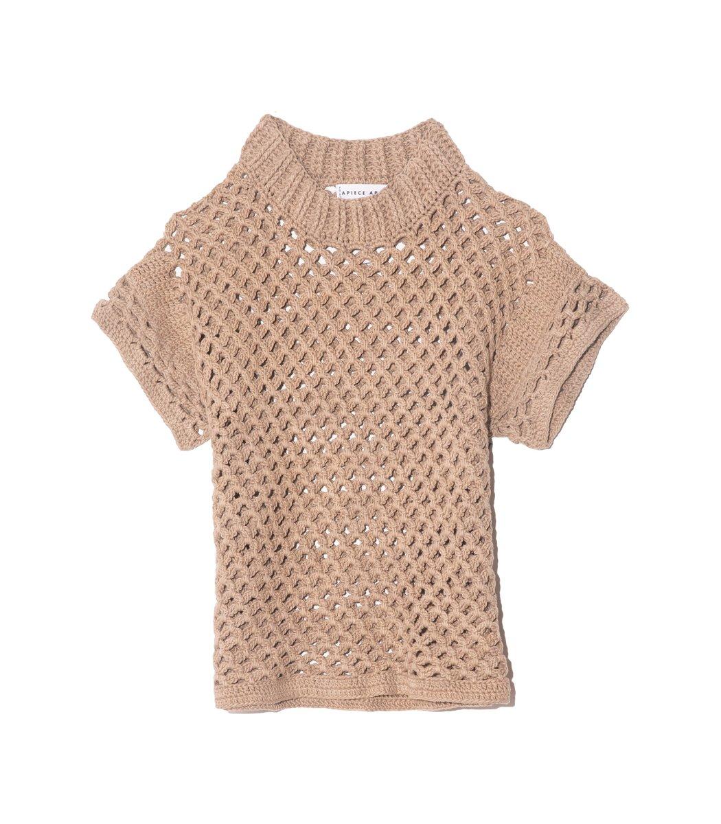 APIECE APART Ami Cropped Net Knit Top in Au Lait