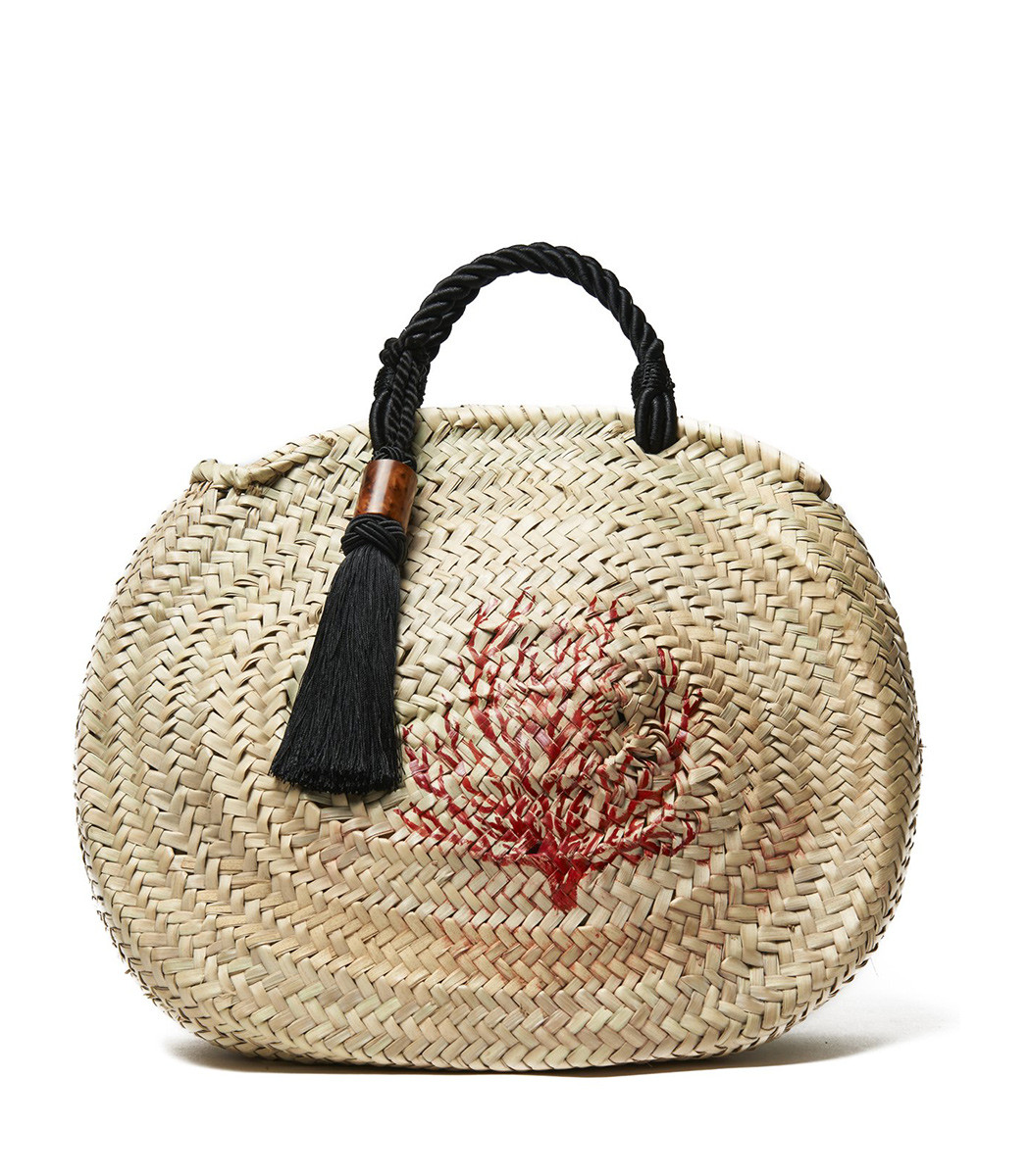 woven palm tassel tote with hand-painted coral