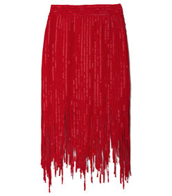 red fringe skirt