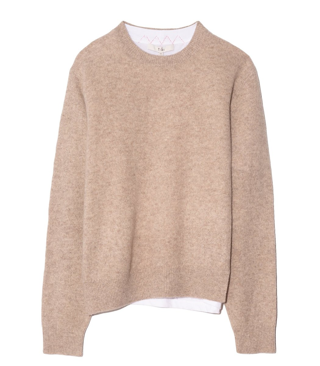 Tibi Lana Layered T-Shirt Sweater in Oatmeal Multi