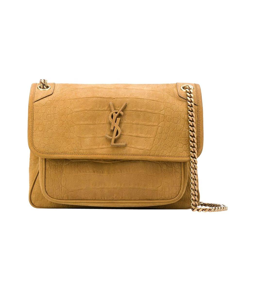 Saint Laurent Leathers Niki Medium Bag, Ochre Brown