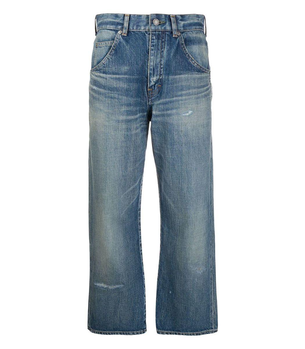 SAINT LAURENT Sandy Winter Blue Cropped Straight-leg Jeans