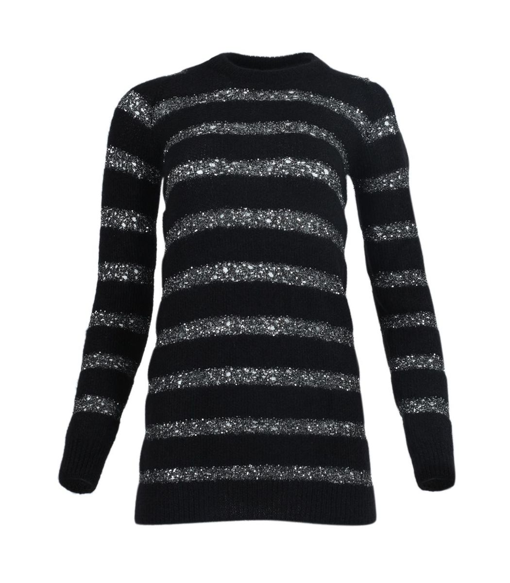 SAINT LAURENT Black And Silver Sequin Striped Mini Dress