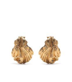 gold-tone shell clip-on earrings
